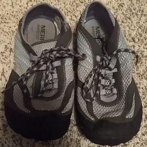 Gray Merrell workout shoes